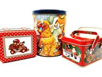 Three Assorted Holiday Metal Tins Featuring Christmas Toys Decorative Containers