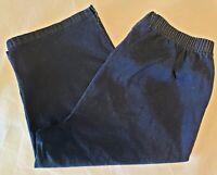 Womans Within 20WP Petite Denim Capri Jeans Pull-On Pants Elastic Blue Dk Wash