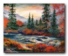 Forest Creek Tree Landscape Scenery Nature Wall Decor Art Print Poster (16x20)