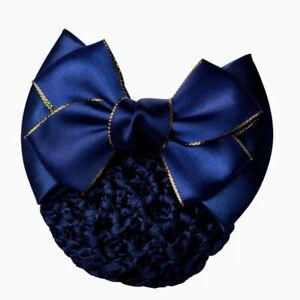 ERA Andrea  Hair Bow Barrette Bun Snood -Navy Satin With Gold Edging