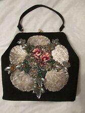 Vintage Black Velvet Handbag Purse Bag Flower Beads Needlepoint Lucite Leaves