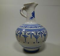"KLM304 BLUE AND WHITE ART POTTERY EWER PITCHER, 6"" HIGH hand painted"