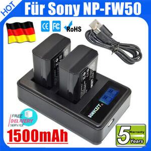 2X NP-FW50 Akku + LCD Dual Ladegerät Für Sony Alpha 6000 6300 5000 7 II 7S 7R A7