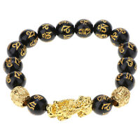 Feng Shui Jewelry Gift Black Beads Bracelet with Pi Xiu Attract Good Luck
