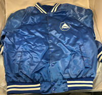 Delta Airlines Vintage Satin Jacket Bomber Executive Class XL Shows Wear