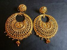 22K Gold Plated Indian Designer 3'' Long Round Party Wedding Earrings Hot Sale a