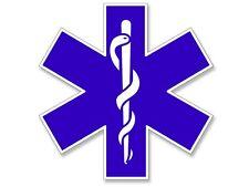 8x8 inch LARGE Blue EMT Star of Life Window Sticker -logo insignia ambulance big