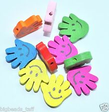 10pcs assorted smiling face hand wood beads 18mm