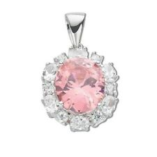 "Sterling Silver Oval Pink Cubic Zirconia Drop Pendant,18"",CZ,925, SPD0046"