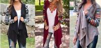 Women Ladies Casual Bobo Long Sleeve Blouse Waterfall Cardigans Top