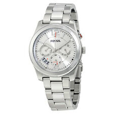 Fossil Perfect Boyfriend Silver Dial Ladies Dual Time Watch ES3883