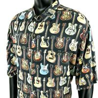 Reyn Spooner Art of Eddy Y Guitars Hawaiian Black Rayon Camp Shirt Mens 3XL