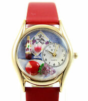 Whimsical Watches Gold-tone Wine Cheese Red Leather C0310004 BRAND NEW!!