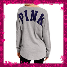 New VICTORIA'S SECRET Pink Ultimate campus lace side long sleeve crew shirt top