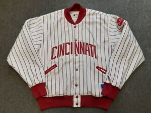 VTG 80s Felco MLB Cincinnati Reds Bomber Jacket White Red Pinstripe X-Large XL