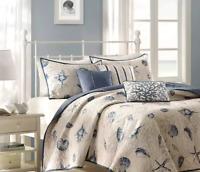 King Quilt Set Seashell Bedding Coverlet Nautical Bedspread Blue Lightweight 6PC