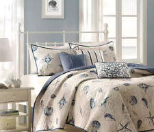 King Quilt Set Seashell Bedding Coverlets Nautical Bedspread Beach House Blue