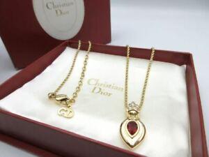 Christian Dior Necklace Logo Vintage Accessories Women's Red Stone Rare Genuine