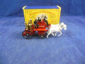 Scarce Matchbox Yesteryear Y4 - 2 1905 Hand Mason Horse drawn Fire Engine Kent