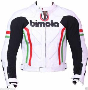 Handmade Men Bimota White Leather Motorcycle Jacket