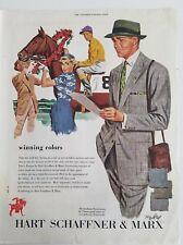 1953 Hart Schaffner & Marx men's suit clothing horse jockey Winning Colors ad