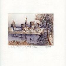 """Novodevichy Convent ""  Original Ex libris Free Graphic Etching by Juri Smirnov"