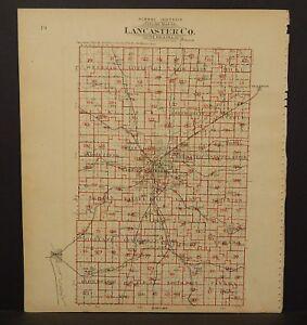 Nebraska Lancaster County Map School District Map 1903  K17#20