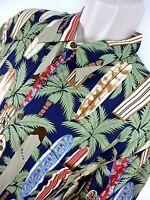 Reyn Spooner Men's Hawaiian Camp Shirt Surfboards Palm Trees Size XL