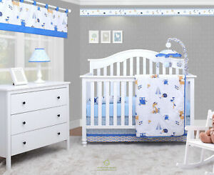 6PCS Enchanted Forest Animals Baby Boy Nursery Crib Bedding Sets By OptimaBaby