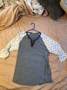 Alternative Earth, 3/4 length baseball henley, shirt, grey, gray, floral, Large