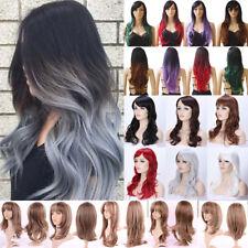 Halloween Wig Long Curly Straight Wavy Women Fashion Black Ladies Full Hair Wigs