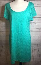 NWT Isaac Mizrahi Eyelet Lace Dress XXL Teal Green $98 Short Cap Sleeve Stretch