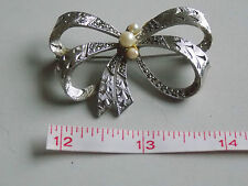 Gorgeous & Iconic Vintage 1960's Silvertone Marcasite & Faux Pearl Bow Brooch