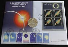 1999 SILVER PROOF ALDERNEY £5 COIN PNC LAST TOTAL SOLAR ECLIPSE PATRICK MOORE