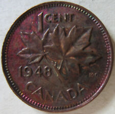 1948 Canada Small Cent Coin. RAINBOW TONING AU/UNC NICE GRADE (C289)
