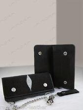 Black Stingray Leather Biker Long Chain Implora Wallet New in Box