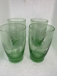 VINTAGE SET of 4 Green Etched Cordial Water Glasses
