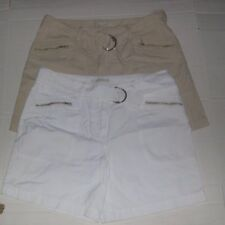 2 Pr Women's B.YOUNG 100% Cotton Shorts Sz 32 w/Cloth Belt (White and Beige)