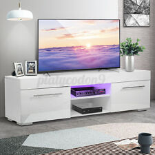 "High Gloss 2 Drawer TV Stand Cabinet w/LED Light Entertainment Center for 59"" TV"