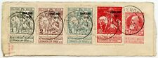 BELGIUM 1911 CHARLEROI EXPOSITION 4 vals on STATIONERY PIECE FU OOSTENDE CANCELS