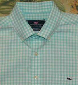 VINEYARD VINES Aqua Blue Gingham Long Sleeve Button Down Shirt Large L