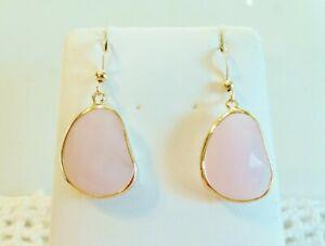 Genuine Free-form Pink Jade Teardrop Earrings Wrapped In 14K YGF