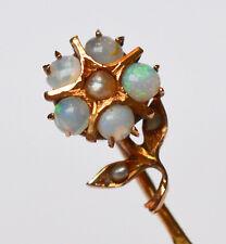 Krawattennadel 585 Gold Blume Opale Opal Perle um 1900 Handarbeit Unikat 5,5 cm