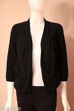 Acrobat 100% Cashmere Black Open Cardigan Sweater Small S