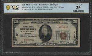 National Bank Note CH#1962 FR1802-1 Kalamazoo MI Serial #001234A PCGS 25 VF $20