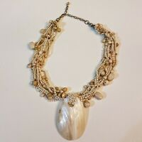Mother of Pearl Shell Pendant NECKLACE Adjustable Beaded Torsade Neutral Shades
