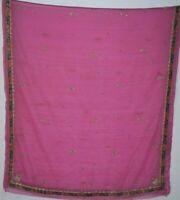 Vintage Dupatta Long Stole Chiffon Silk Pink Hand Flower Beaded Wrap Veil