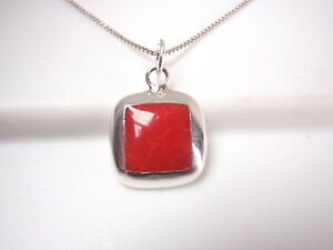 Red Coral Square with Rounded Corners 925 Sterling Silver Pendant