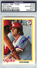 Pete Rose Autographed Signed 1978 O-Pee-Chee Card #100 Reds PSA/DNA 83584314