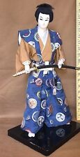 "VTG SAMURAI WARRIOR DOLL MID CENTURY, 18"" TALL, MONS EMBROIDERED SILK BROCADE"